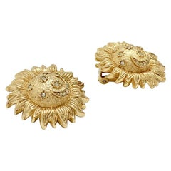 CHRISTIAN DIOR Sun Clip-on Earrings in Gilt Metal and Brilliant
