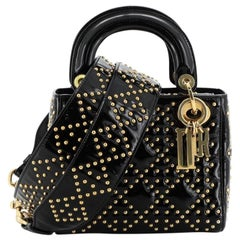 Christian Dior Supple Lady Dior Bag Cannage Studded Patent Mini