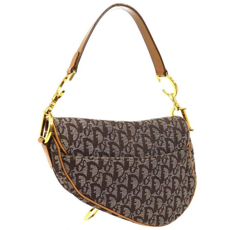 Women's Christian Dior Tan Brown Monogram Cognac Leather 'CD' Logo Charm Shoulder Bag For Sale