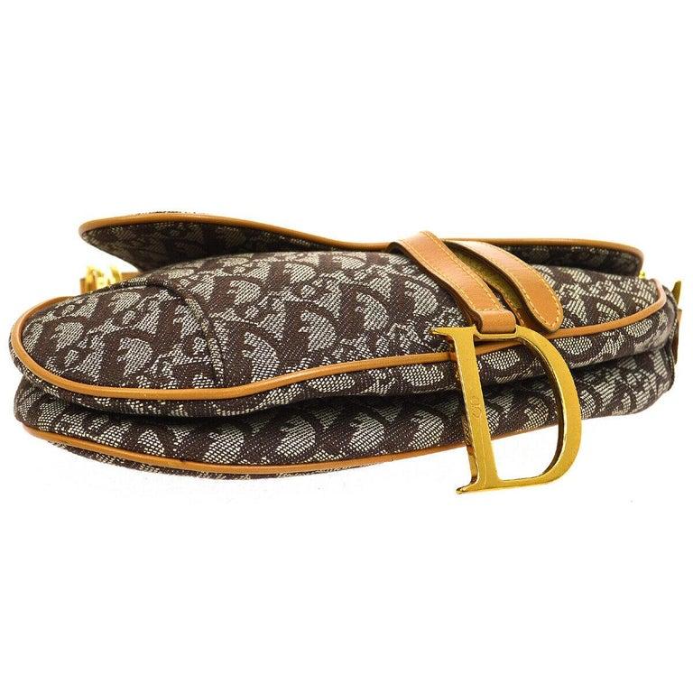 Christian Dior Tan Brown Monogram Cognac Leather 'CD' Logo Charm Shoulder Bag For Sale 1