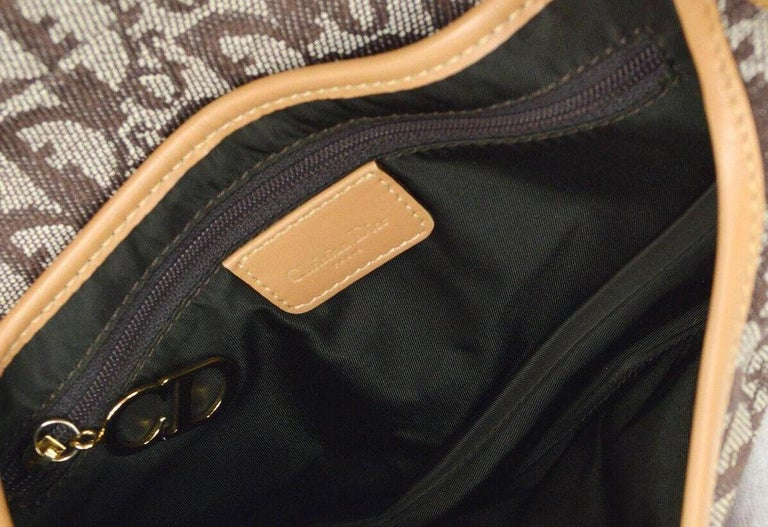 Christian Dior Tan Brown Monogram Cognac Leather 'CD' Logo Charm Shoulder Bag For Sale 2