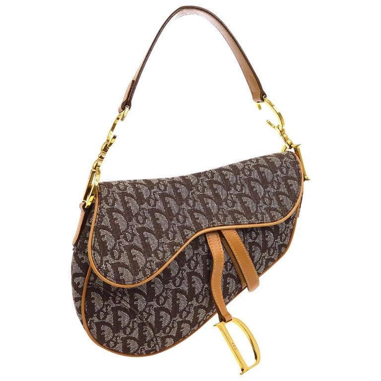 Christian Dior Tan Brown Monogram Cognac Leather 'CD' Logo Charm Shoulder Bag For Sale