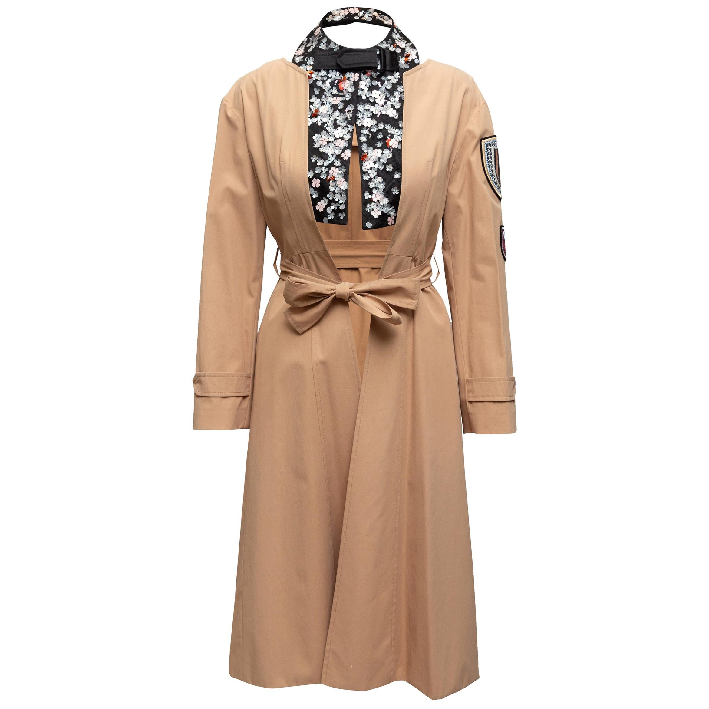 Christian Dior Tan Embellshed Trench Coat
