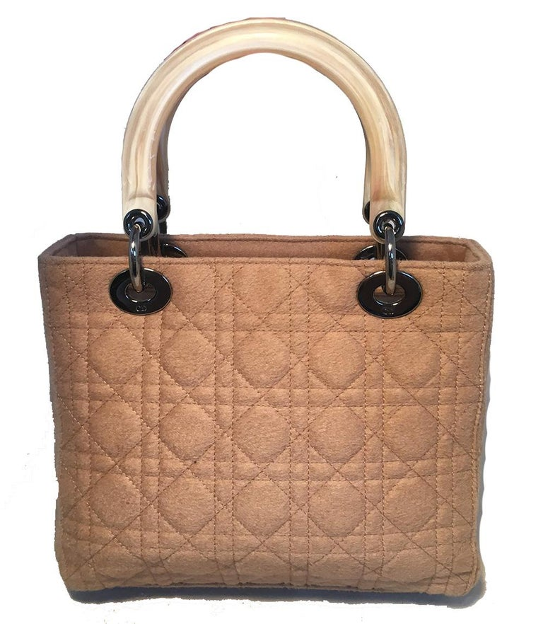Christian Dior Tan Wool Cannage Quilted Medium Lady Di Bag  In Excellent Condition For Sale In Philadelphia, PA