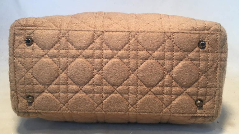 Women's Christian Dior Tan Wool Cannage Quilted Medium Lady Di Bag  For Sale