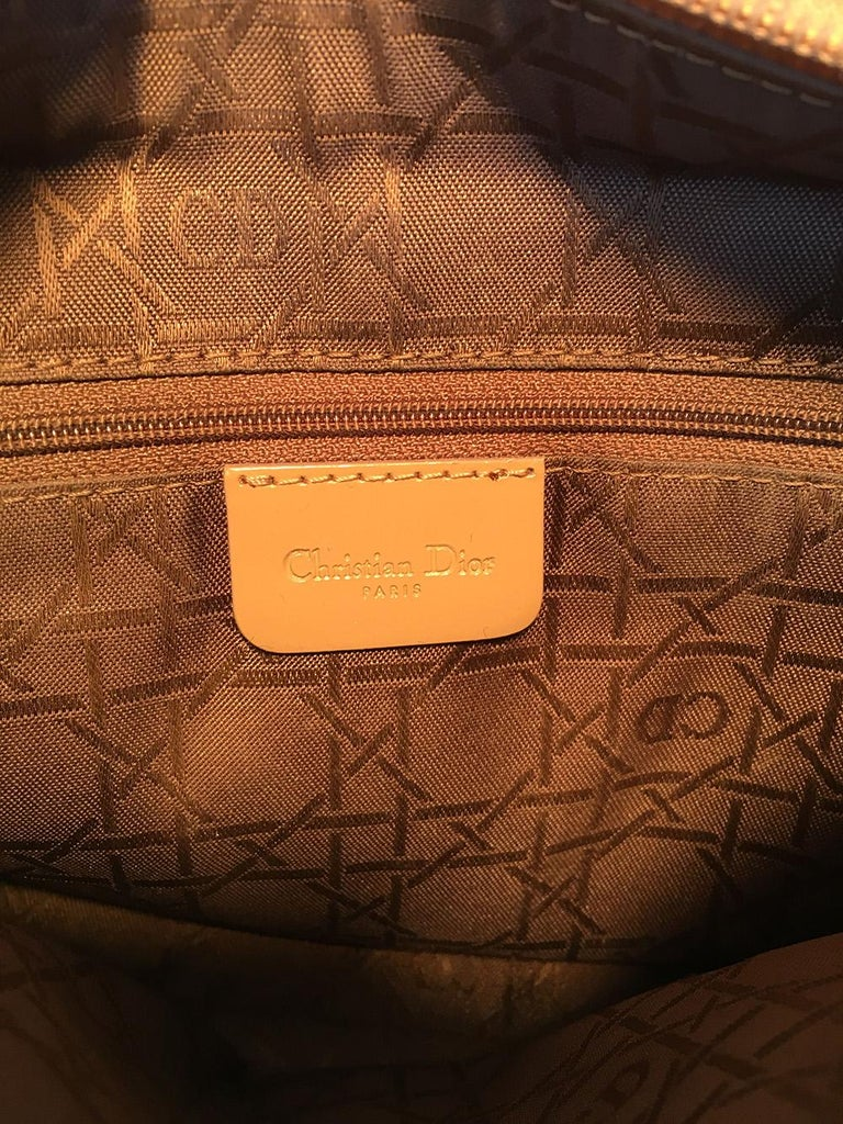 Christian Dior Tan Wool Cannage Quilted Medium Lady Di Bag  For Sale 4