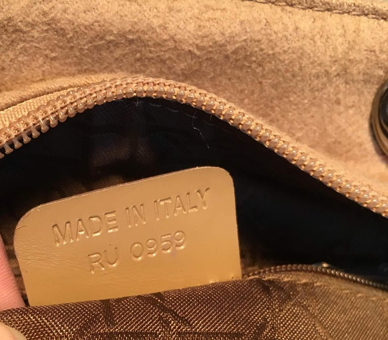 Christian Dior Tan Wool Cannage Quilted Medium Lady Di Bag  For Sale 5