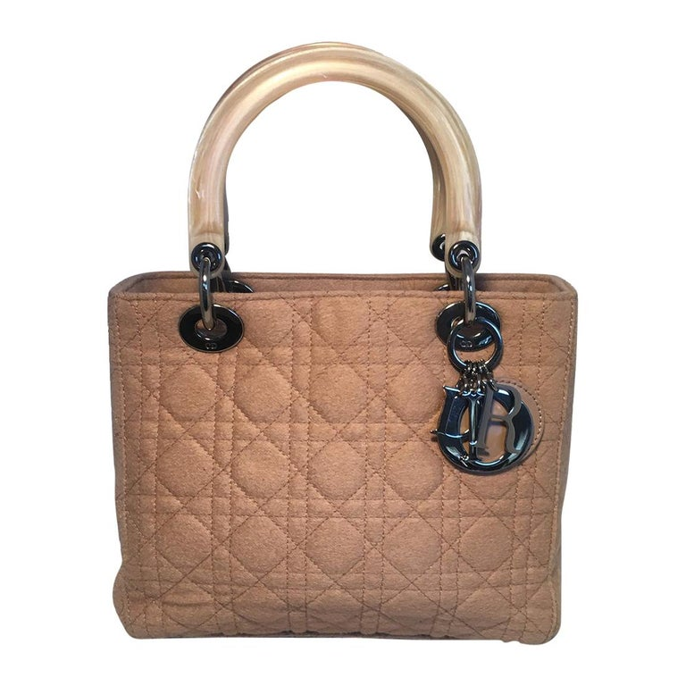 Christian Dior Tan Wool Cannage Quilted Medium Lady Di Bag  For Sale