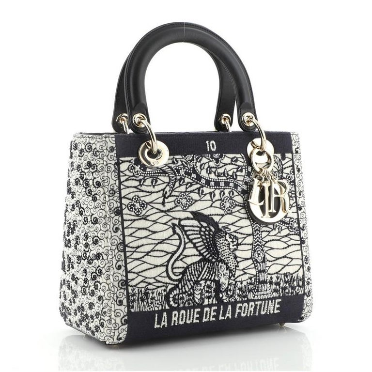 Black Christian Dior Tarot Lady Dior Bag Embellished Canvas Medium For Sale