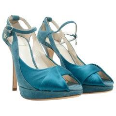 Christian Dior Teal Suede & Satin Platform Pumps