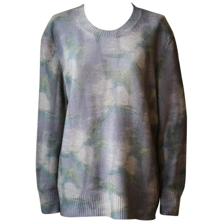 Christian Dior Tie-Dye Printed Cashmere Sweater For Sale