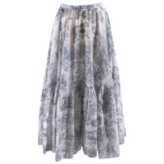Christian Dior Toile De Jouy Printed Voile Skirt 10