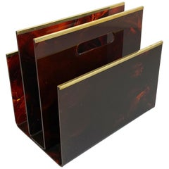 Christian Dior Tortoise Lucite and Brass Magazine Rack Holder, France, 1970s