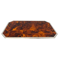 Christian Dior Tortoiseshell and Lucite and Chrome Serving Tray, Italy, 1970s