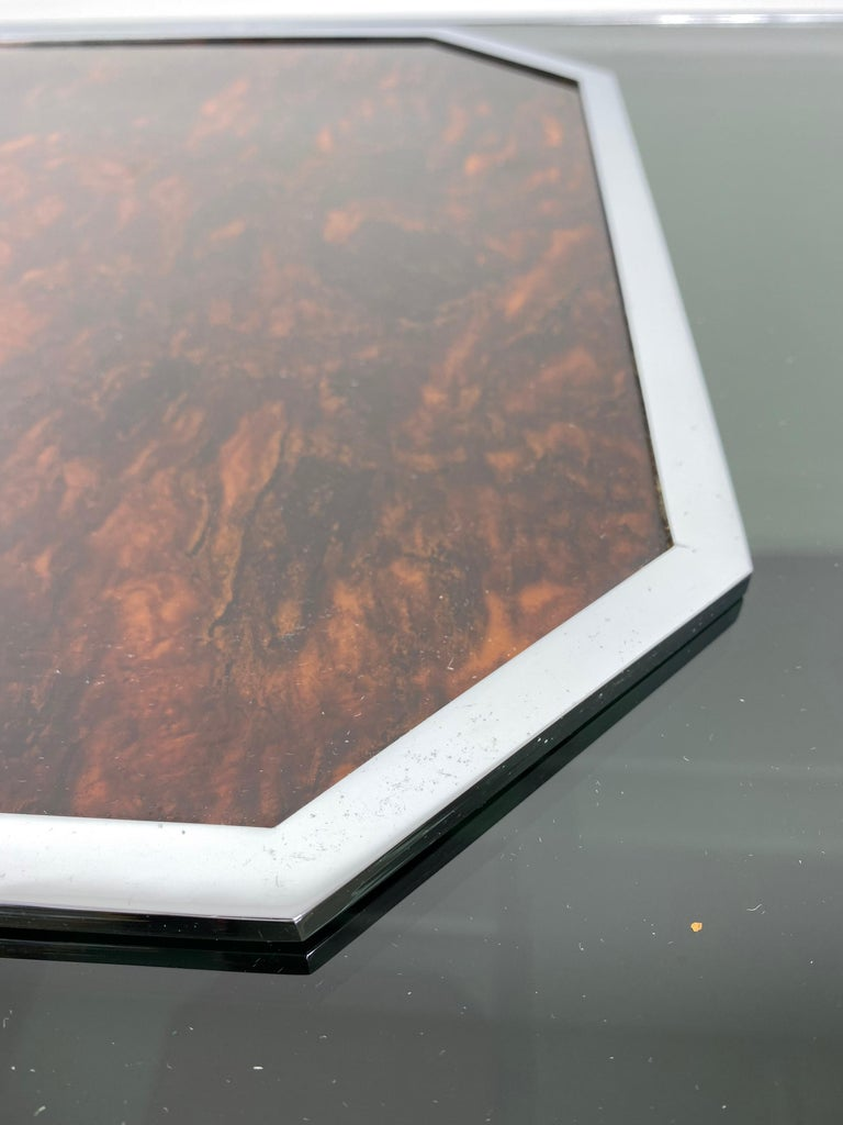Christian Dior Tortoiseshell Lucite and Chrome Serving Tray, France, 1970s For Sale 3