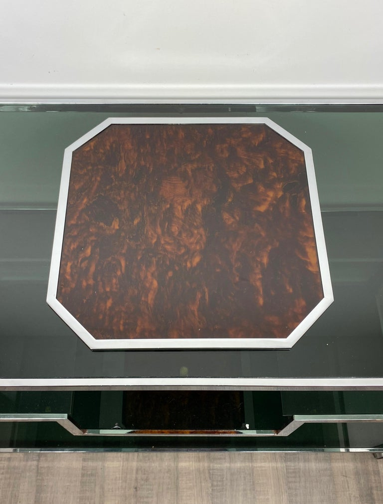 Mid-Century Modern Christian Dior Tortoiseshell Lucite and Chrome Serving Tray, France, 1970s For Sale