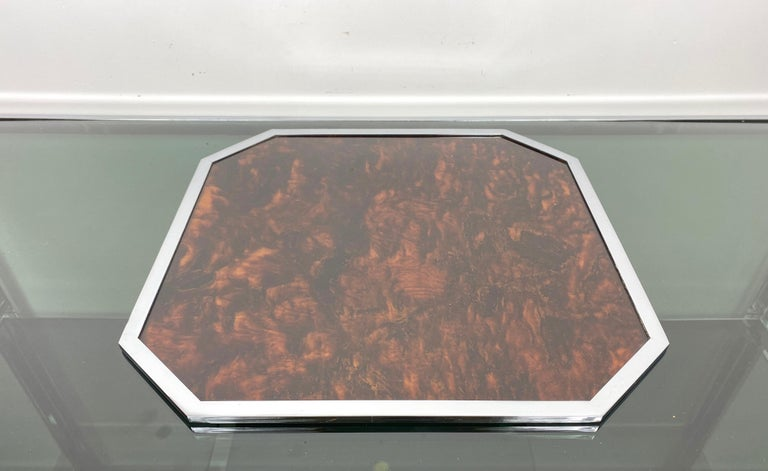 French Christian Dior Tortoiseshell Lucite and Chrome Serving Tray, France, 1970s For Sale