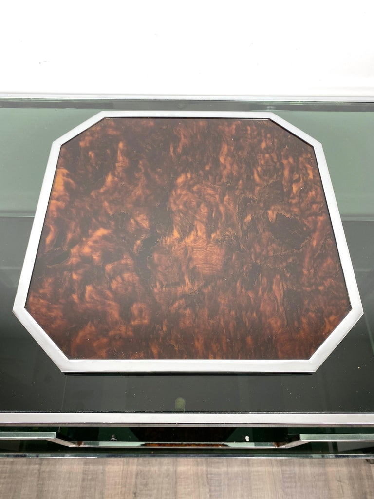 Christian Dior Tortoiseshell Lucite and Chrome Serving Tray, France, 1970s In Good Condition For Sale In Rome, IT