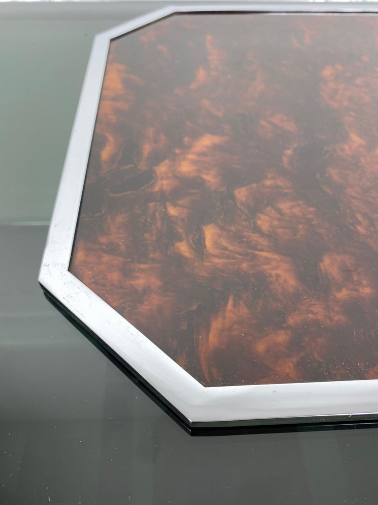 Christian Dior Tortoiseshell Lucite and Chrome Serving Tray, France, 1970s For Sale 2