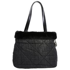 CHRISTIAN DIOR Tote Bag in Black Monogram Canvas and Faux Fur Outline