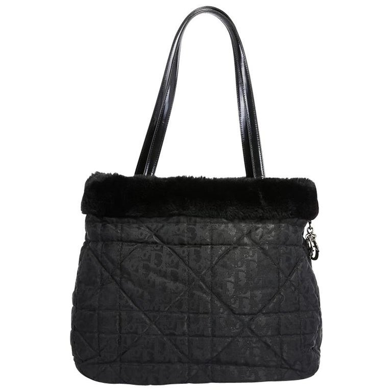 11fbdeaaf2c8 CHRISTIAN DIOR Tote Bag in Black Monogram Canvas and Faux Fur Outline For  Sale