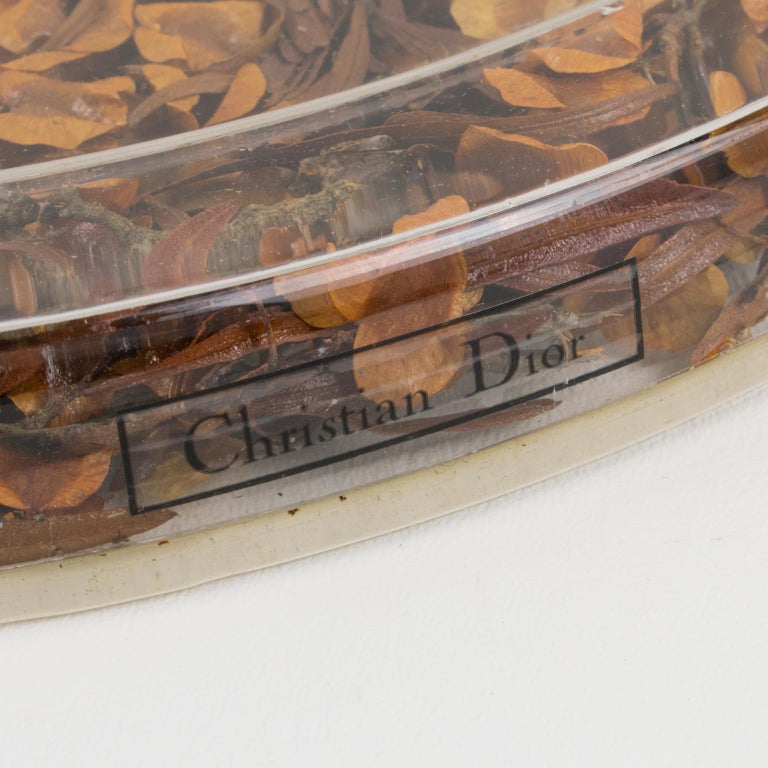 French Christian Dior Tray Board Platter Lucite and Dried Flowers For Sale