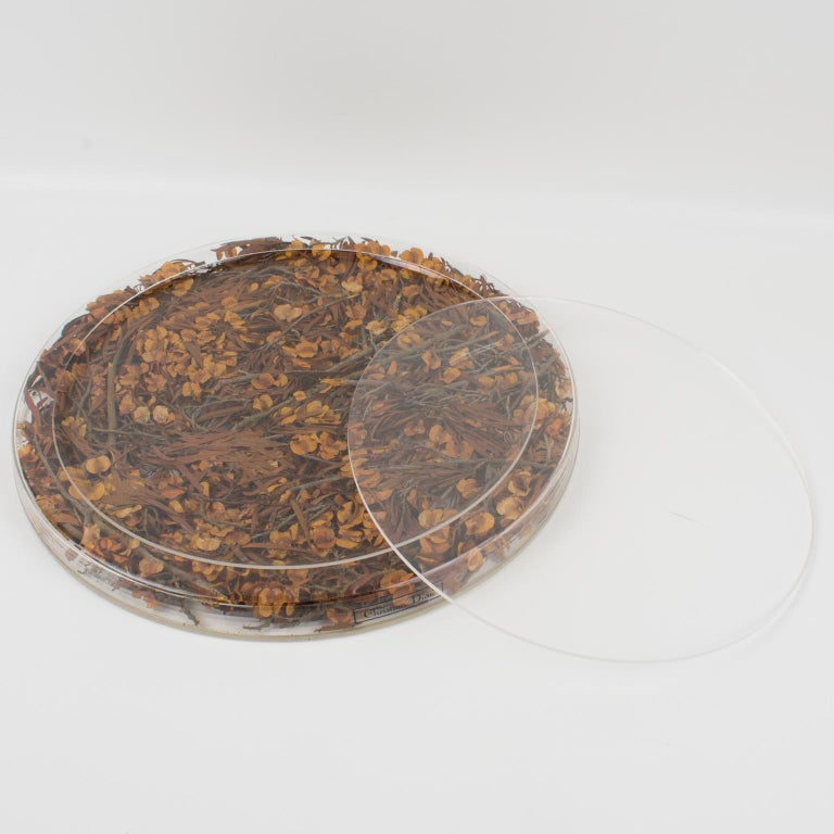 Christian Dior Tray Board Platter Lucite and Dried Flowers In Excellent Condition For Sale In Atlanta, GA
