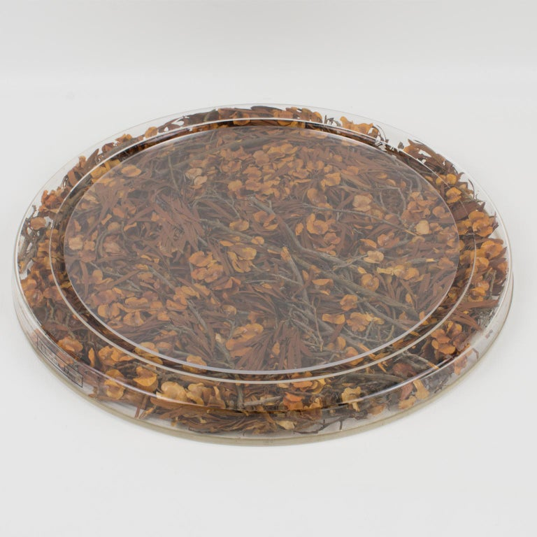 Late 20th Century Christian Dior Tray Board Platter Lucite and Dried Flowers For Sale