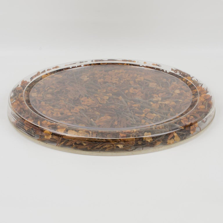 Acrylic Christian Dior Tray Board Platter Lucite and Dried Flowers For Sale