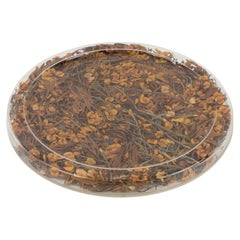 Christian Dior Tray Board Platter Lucite and Dried Flowers