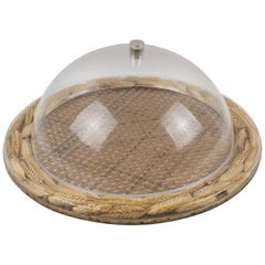 Christian Dior Tray Board Platter Lucite, Rattan and Wheat
