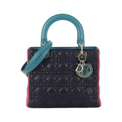 Christian Dior Tricolor Lady Dior Handbag Cannage Quilt Leather Medium
