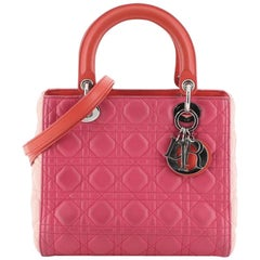 Christian Dior Tricolor Lady Dior Handbag Cannage Quilt Leather Medium