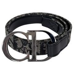 Christian Dior Trotter Pattern Black Leather Belt (Size 80/32)