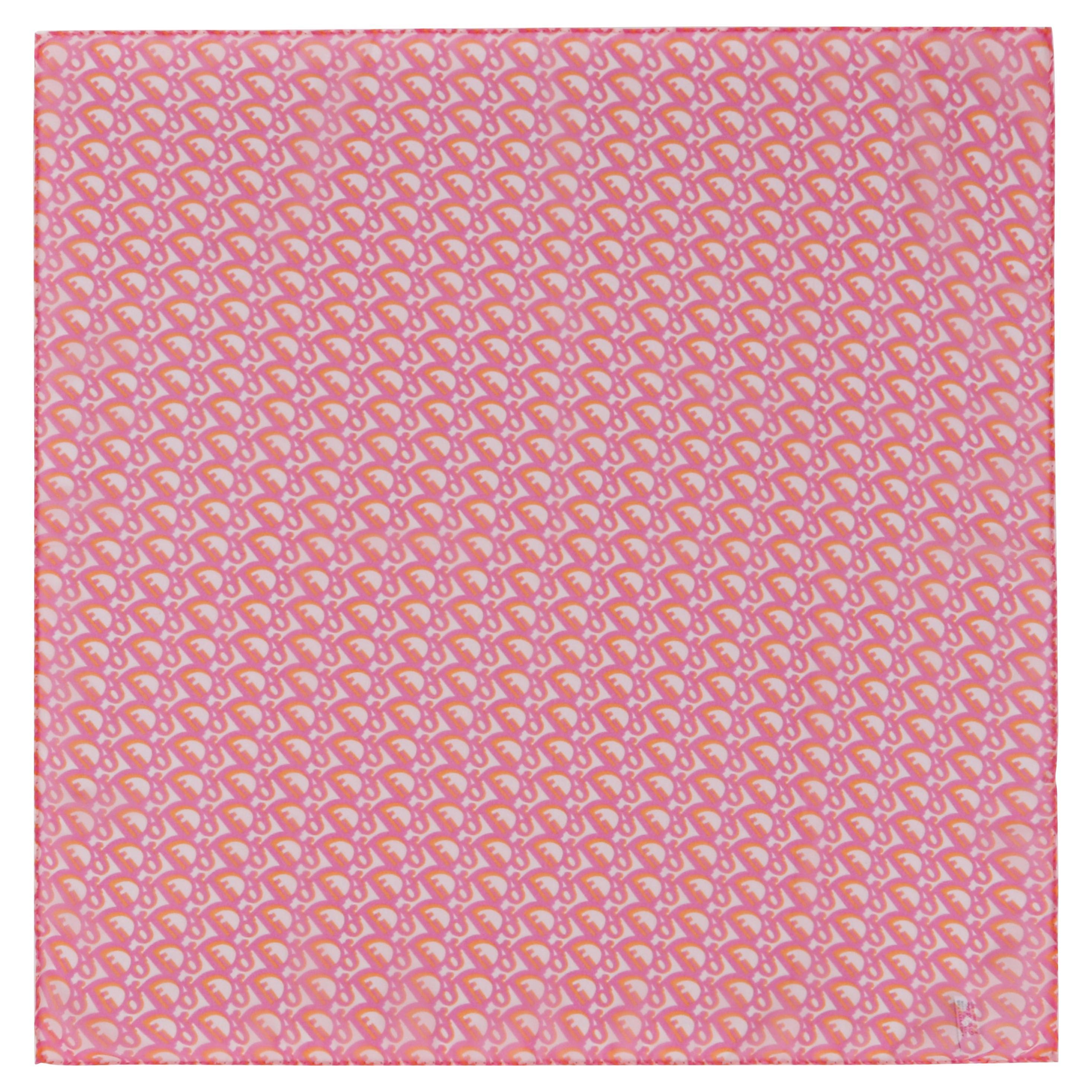 "CHRISTIAN DIOR ""Trotter"" Pink & Orange Diorissimo Silk Chiffon Scarf w/ Envelope"