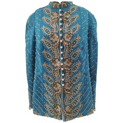 Christian Dior turquoise pearls beads sequins jacket