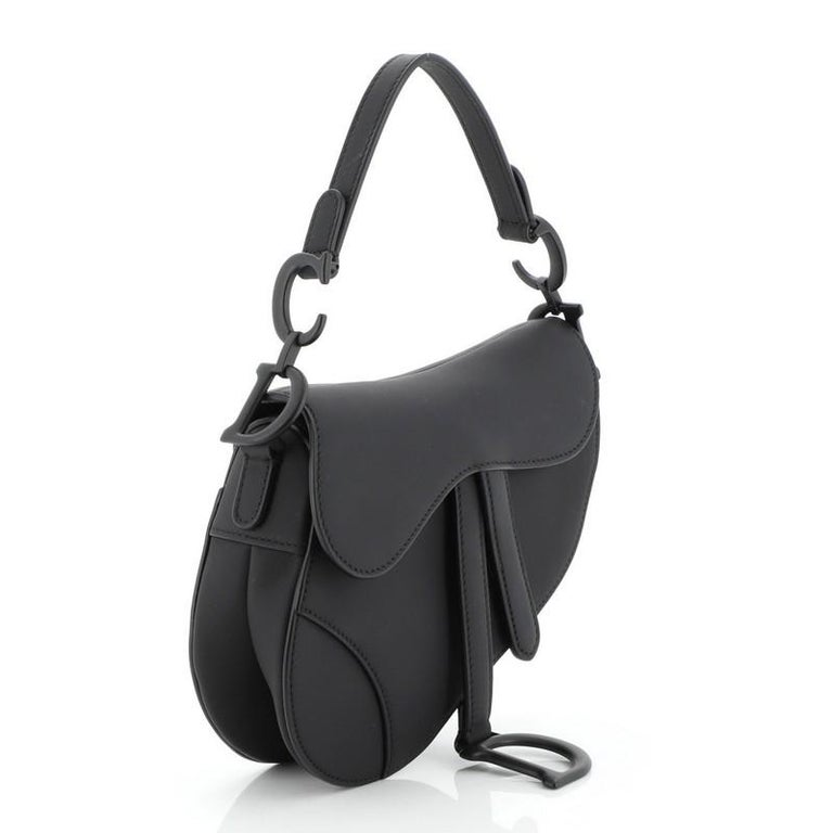 Christian Dior Ultra Matte Saddle Handbag Leather Mini In Good Condition For Sale In New York, NY
