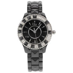 Christian Dior VIII Black Ceramic Diamond Quartz Ladies Watch CD1231E1C001