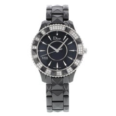 Christian Dior VIII Black Ceramic Diamonds Quartz Ladies Watch CD1241E0C001