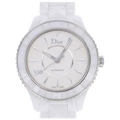Christian Dior VIII Steel White Ceramic Silver Dial Automatic Watch CD1245E3C001