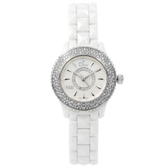 Christian Dior VIII White Ceramic Diamonds Quartz Ladies Watch CD1221E4C001
