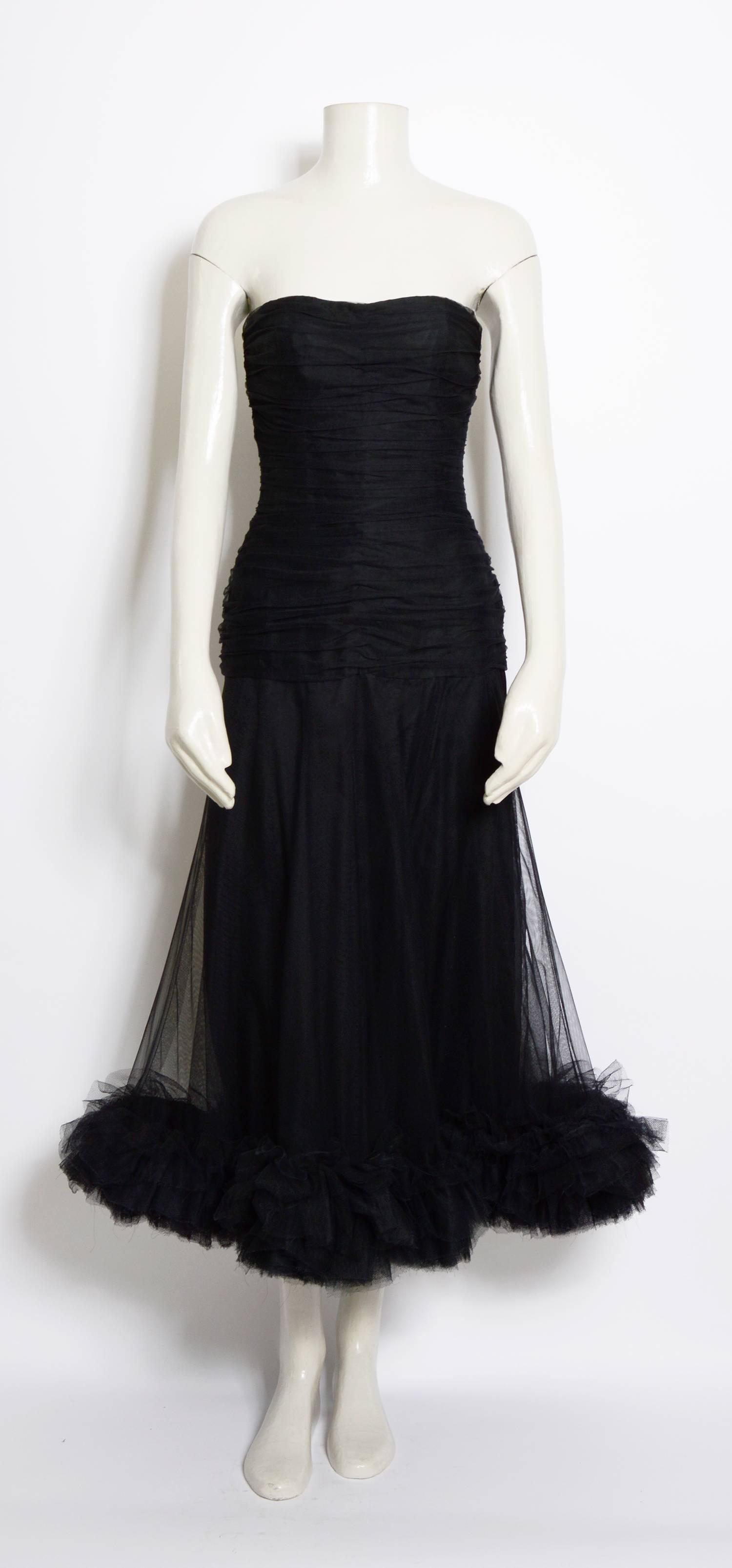 Christian Dior vintage black tulle / silk ruched bustier dress ...