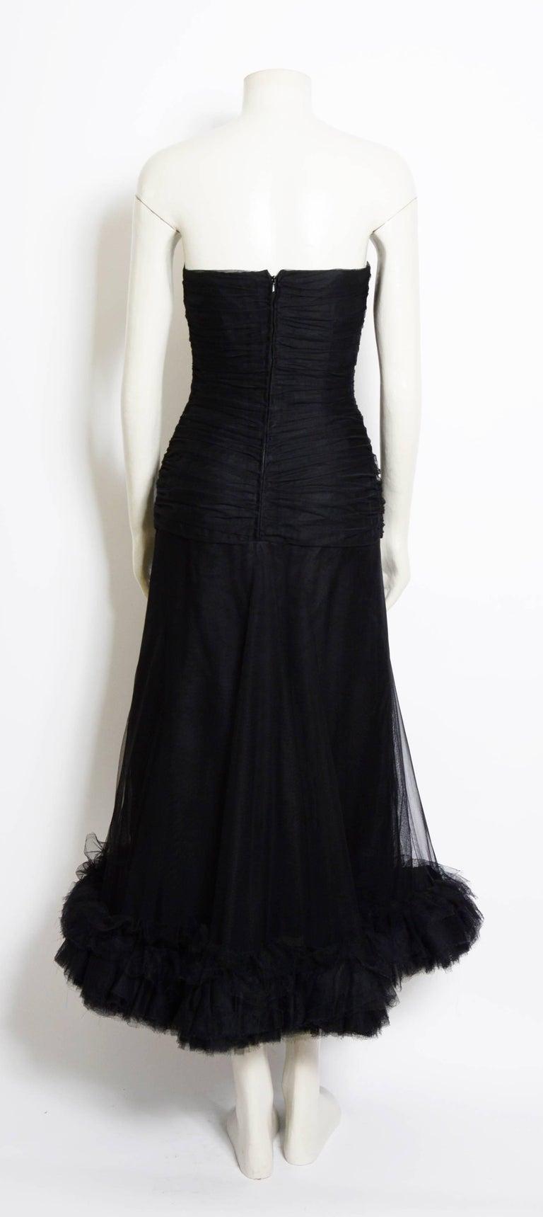 Christian Dior Vintage Black Tulle Silk Ruched Bustier