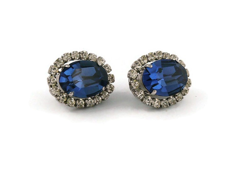 Christian Dior Vintage 1964 Sapphire Crystal Clip-On Earrings In Excellent Condition For Sale In Nice, FR