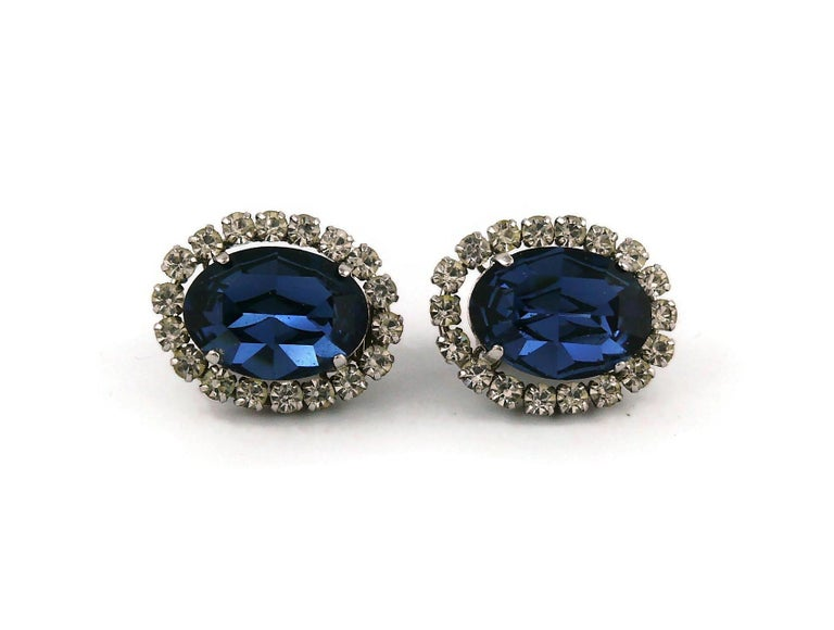 Women's Christian Dior Vintage 1964 Sapphire Crystal Clip-On Earrings For Sale