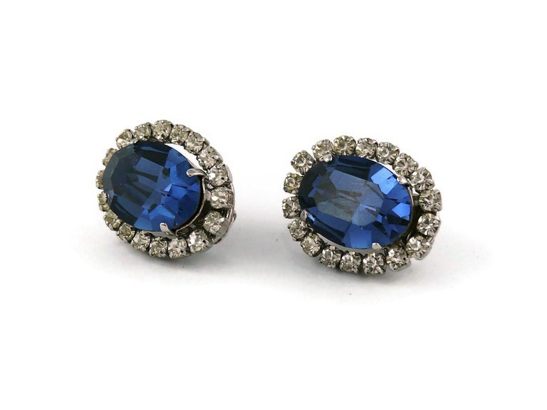 Christian Dior Vintage 1964 Sapphire Crystal Clip-On Earrings For Sale 1