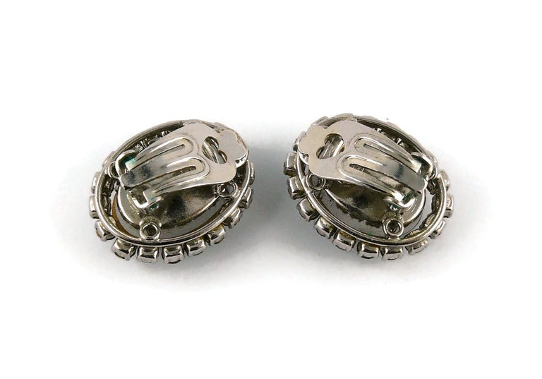 Christian Dior Vintage 1964 Sapphire Crystal Clip-On Earrings For Sale 2