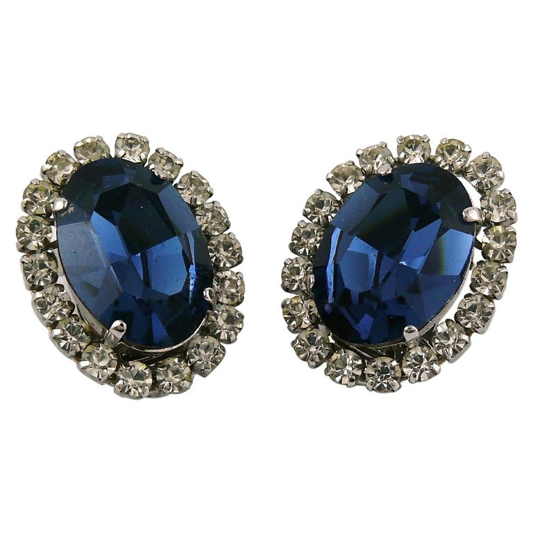 Christian Dior Vintage 1964 Sapphire Crystal Clip-On Earrings For Sale