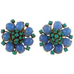 Christian Dior Vintage 1966 Glass Flower Clip-On Earrings