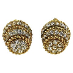 Christian Dior Vintage 1968 Domed Clip-On Earrings